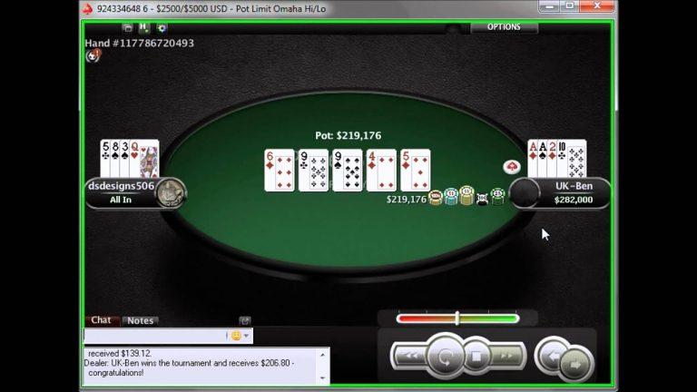 Winning the 8.80 Omaha Hi-Lo on Pokerstars