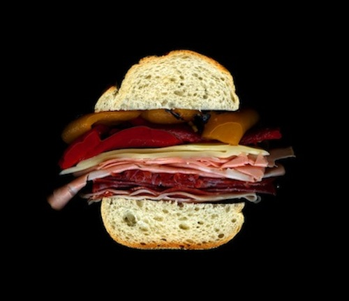 apicola, Mortadella, Prosciutto, Salami, Provolone, Hot Peppers, On an Italian Hero