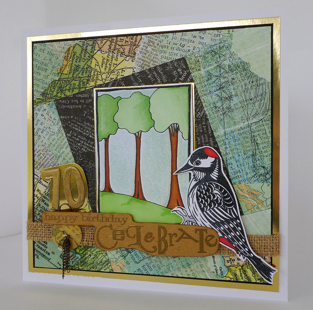 Trees and Woodpecker images are stamps from Clarity stamps. Both images stamped with memento ink and coloured with promarker (alcohol) pens. The design paper is Basic grey, and I used embellishments from my stash to create the sentiment.