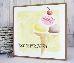ice creamd and sprinkle stencilled card