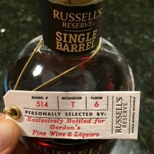 Russell's Reserve Single Barrel for Gordon's Fine Wines