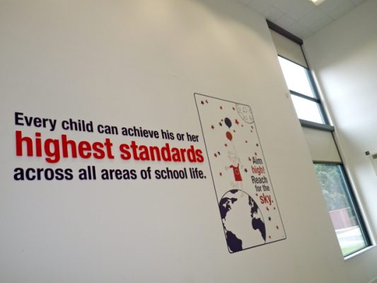 neasden primary school acrylic artwork installation in hallway
