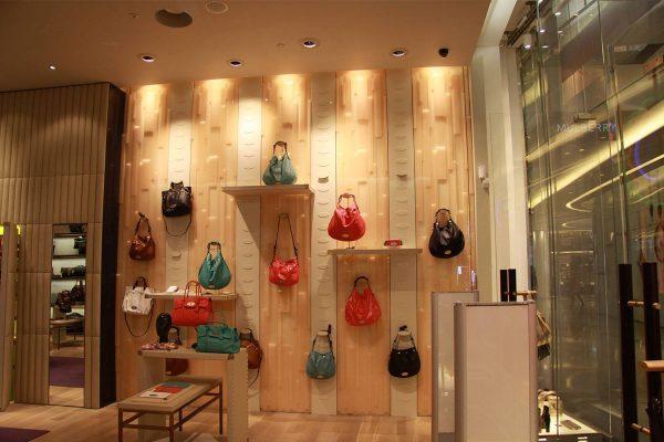 mulberry handbag display in shop