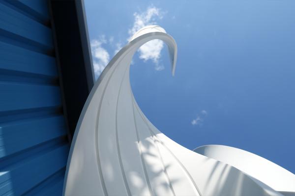 ino-plaz car park sculpture from below