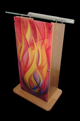 flame front acrylic lecturn