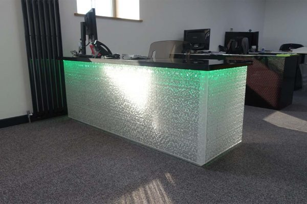 acrylic colour changing office desk green