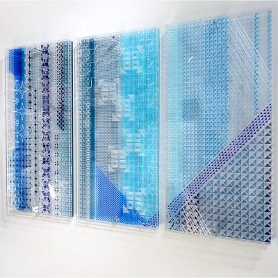 sarah daniels envelope exhibition acrylic artwork 3 panels