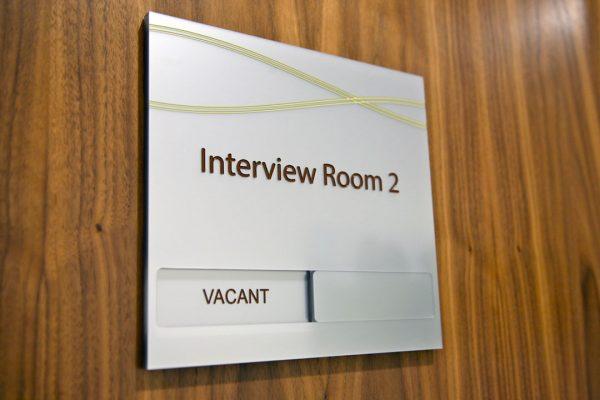 engraved interview door sign