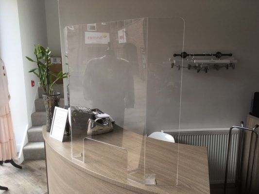 Covid-19 Protective Screens - Front Desk Curved Screen