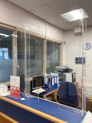 Covid-19 Protective Screens - NHS Hospital Desk