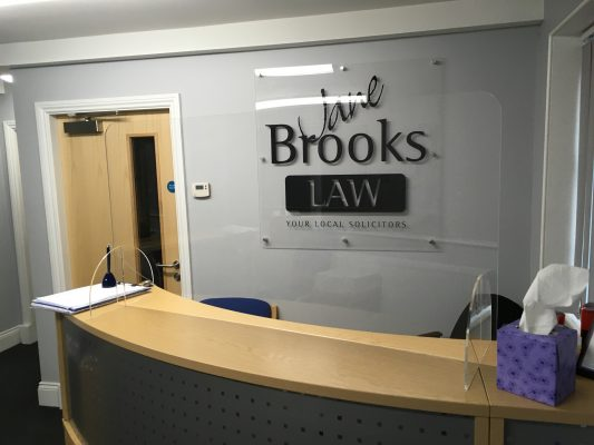 Covid-19 Protective Screens - Jane Brooks Law Front Desk