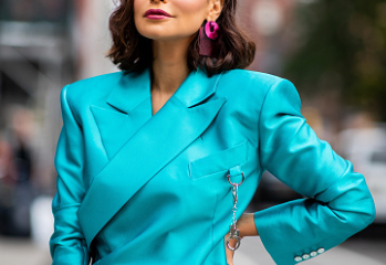 Electric blue suit worn by Moroccan fashion designer