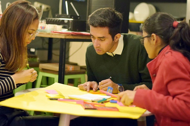 Students at a design thinking workshop