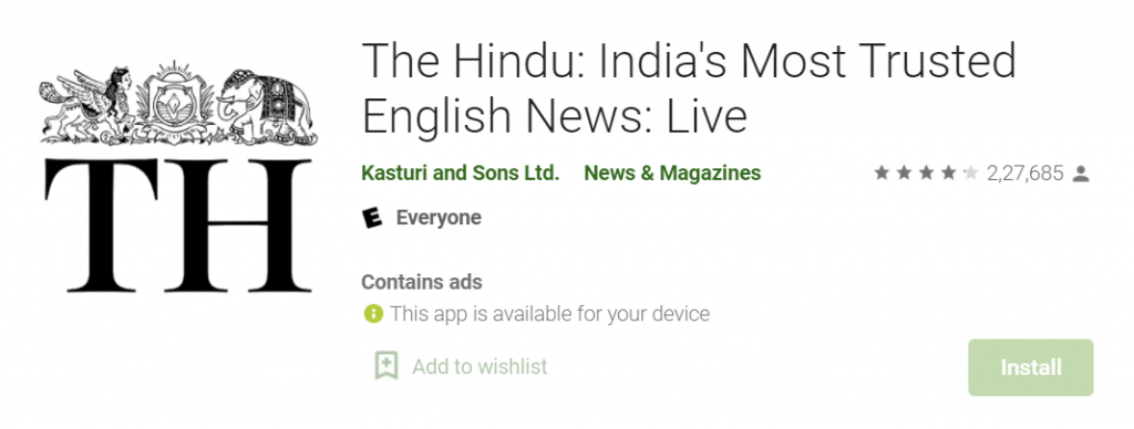 The Hindu App for IAS preparation