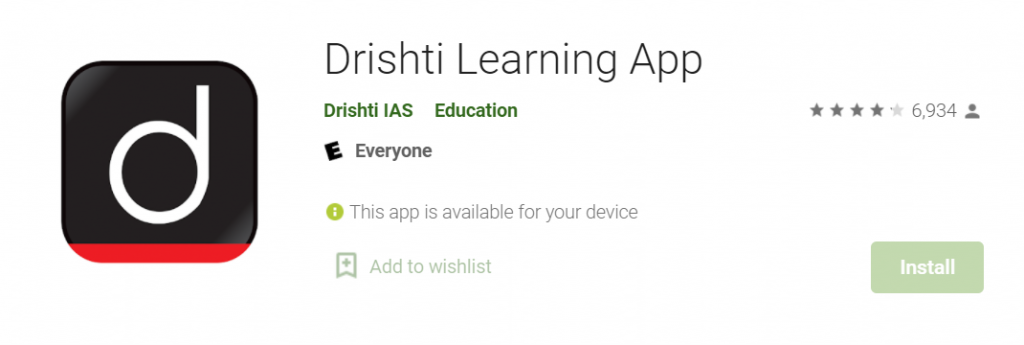 Drishti learning app for ias preparation