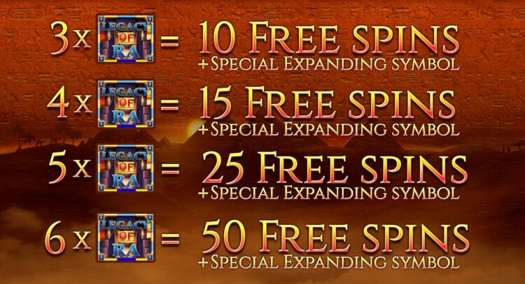 legacy of ra free spins