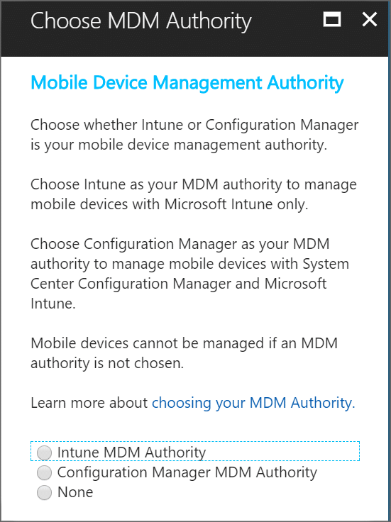 Screenshot of Intune set mobile device management authority screen