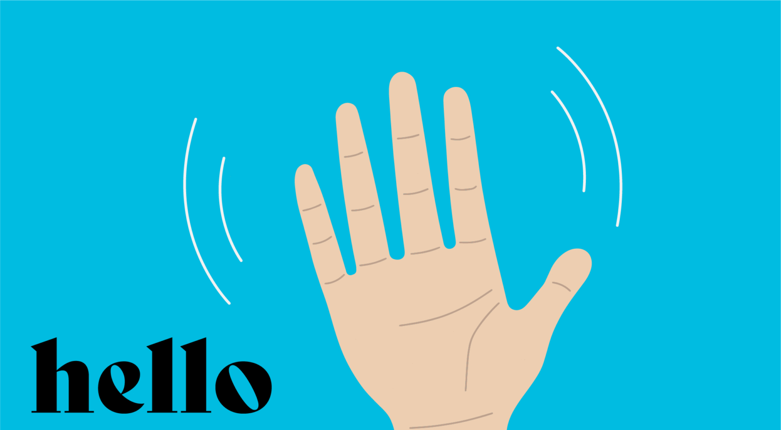 Waving hand on blue background with the word 'hello' in black