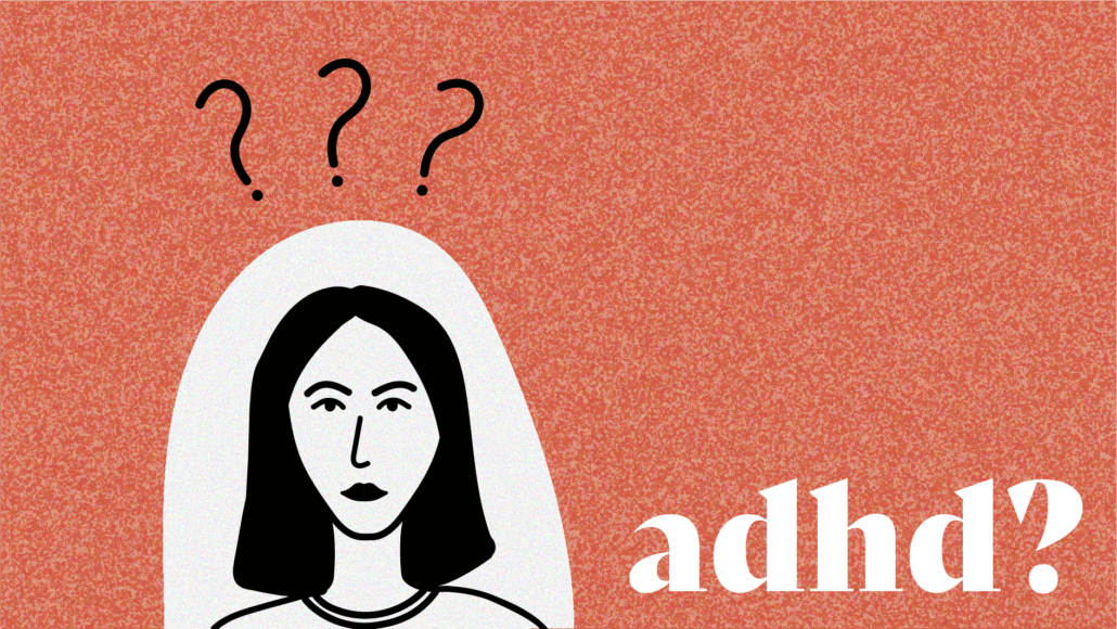 Illustration of woman on pink background with question marks above her head