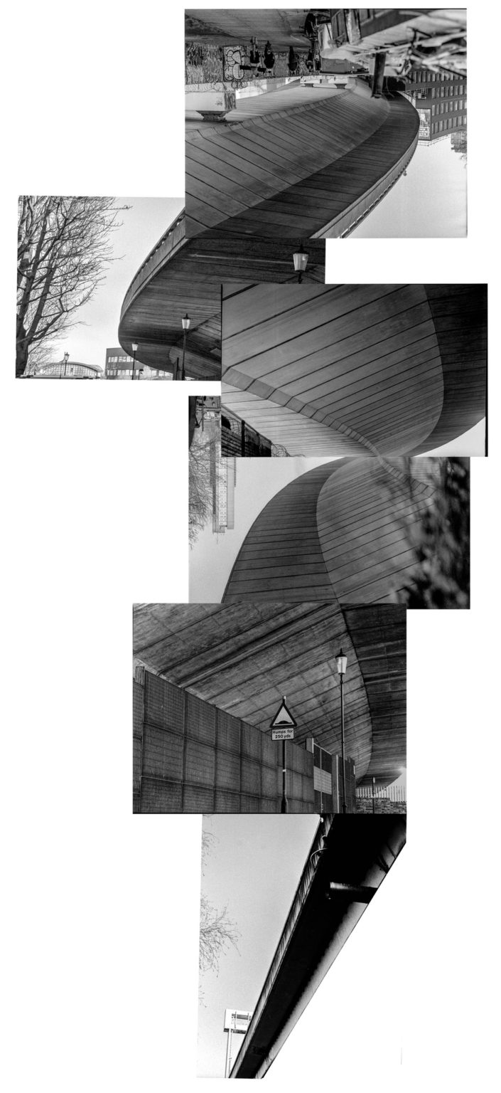 collage of black and white photographs depicting the westway flyover