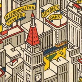 Detail of illustration of birds-eye view of New York City