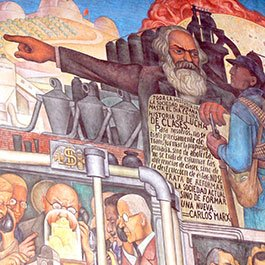 Detail from mural by Diego Rivera showing the history of Mexico, featuring Karl Marx, and situated at the Palacio Nacional, Mexico City