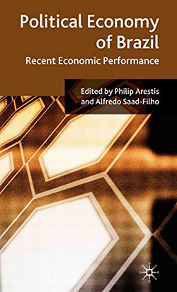 Cover of the book 'Political Economy of Brazil: recent economic performance' edited by Philip Arestis and Alfredo Saad-Filho featuring brown hexagonal geometric pattern