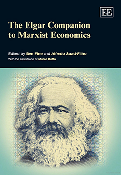 Cover of the book 'The Elgar Companion to Marxist Economics' edited by Ben Fine and Alfredo Saad-Filho featuring illustration of Karl Marx