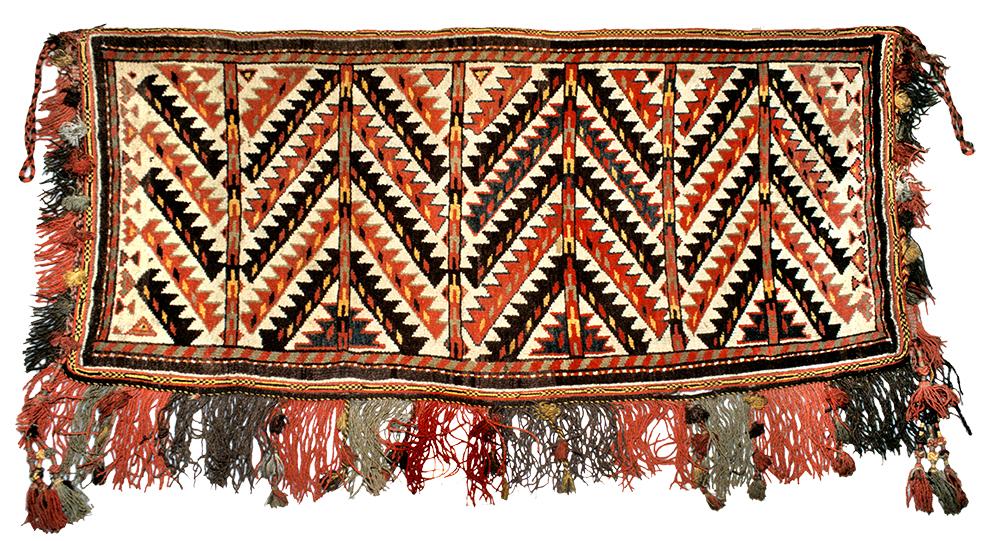 Karakalpak pile bag face, early 20th century, using a motif commonly found on Yomut weavings. USMH 45-47