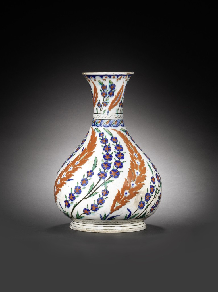 Iznik pottery flask, Turkey, second half 16th century.
