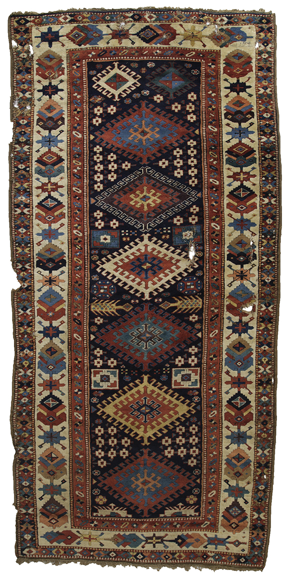 East Caucasian long rug, circa 1800, 1.32 x 2.72m. Zaleski  Collection