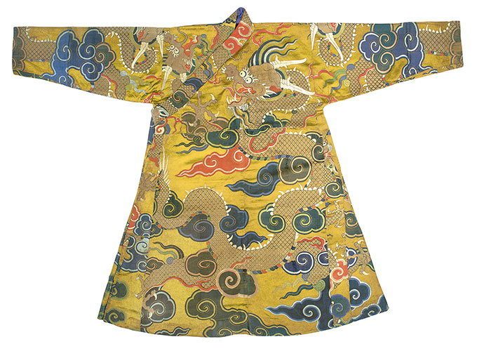 Dragon Court Dress (chuba), China, late Ming Dynasty (1368-1644) - the beginning of the Qing Dynasty (1644-1912), 17th century.  Brocaded silk satin and embroidered vector Myrna Myers   © All Rights Reserved Myers  © All rights reserved