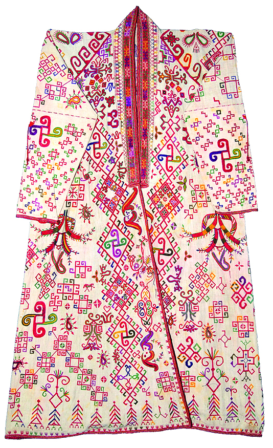 White woman's mantle, aq jegde, decortated with pictorial embroidery, Qarakalpak, early 20th century. QRSM