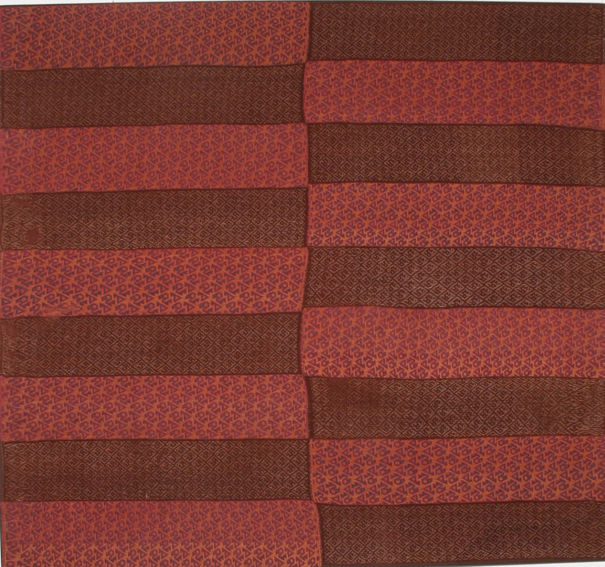"Mantle, Peru, Chancay culture (1100 – 1400 AD). Camelid wool, two different techniques of supplementary warp floats, 59 ½"" x 64"". Gail Martin at AOA New York"