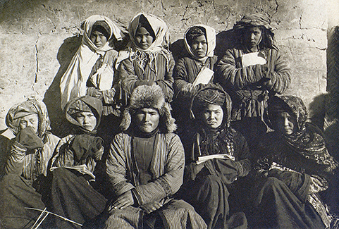 Schoolgirls dressed like young women with their teacher taken by Melkov 1928-9. RAS 4076-500