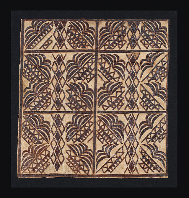 Ceremonial tapa (bark cloth) clothing panel, siapo, possibly Samoa, Polynesia, early 20th century. Clive Loveless