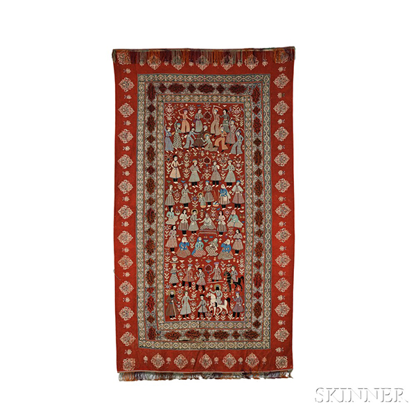 Rescht Embroidery, North Persia, late 19th/early 20th century, (tear in bottom main border, small repairs in outermost red border), 9 ft. 4 in. x 5 ft. 4 in.   Provenance: Formerly the property of Pietr Jaroszewitz, Prime Minister of Poland 1970-1980.  Estimate $2,500-3,500 984106