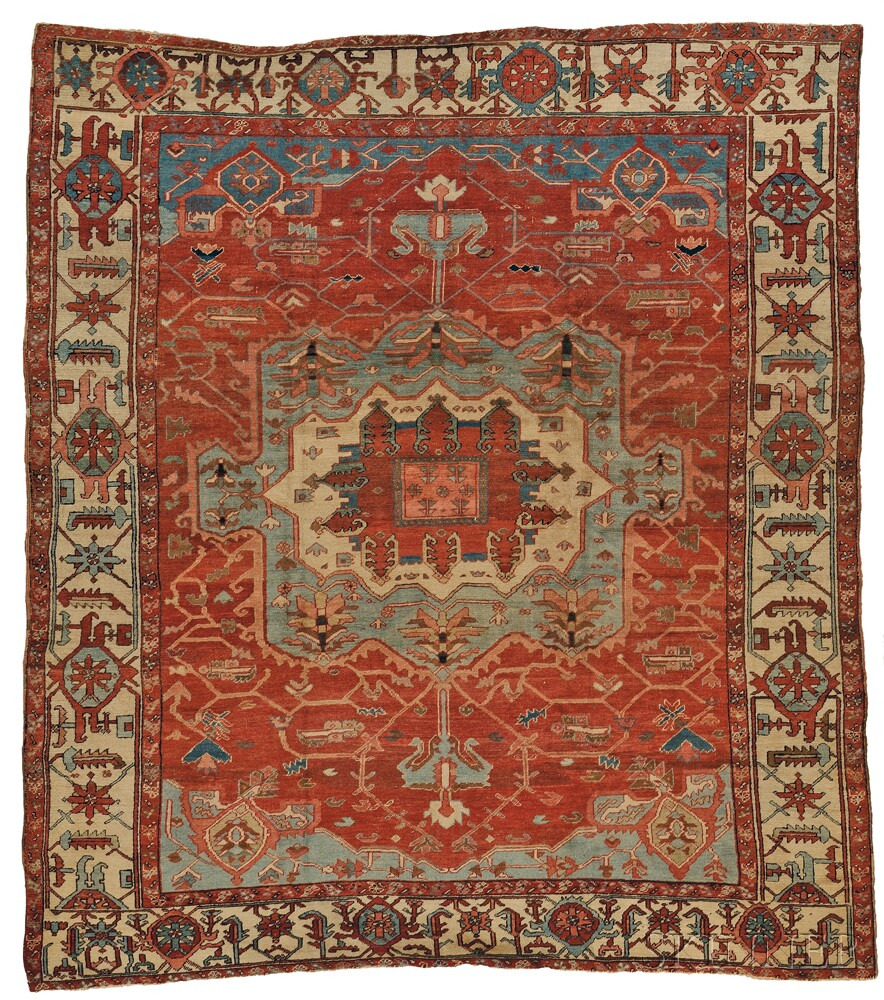 Serapi carpet, northwest Persia, last quarter 19th century, (small spot of wear, minor end fraying), 10 ft. 10 in. x 9 ft. 6 in. Lot 112, estimate $12,000-15,000