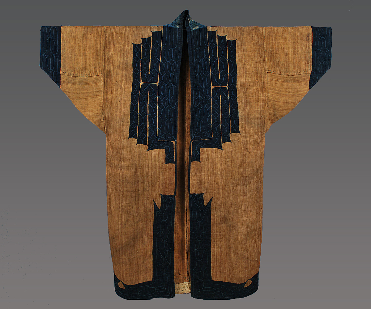 "Man's robe, Ainu people, Hokkaido, Japan, 19th century. Attush (inner bark from an elm tree) with cotton applique and embroidery, 51"" (w) x 49"" (h). Joe Loux at MATA New York"