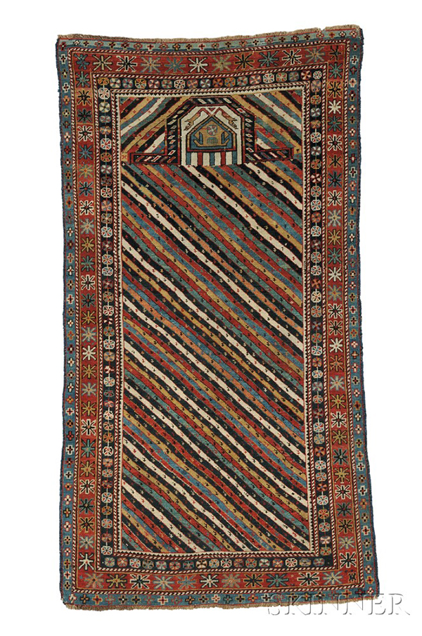 Akstafa prayer rug, east Caucasus, last quarter 19th century, (spots of minor wear, reovercast), 5 ft. 8 in. x 3 ft. 2 in. Lot 127, estimate $4,000-6,000