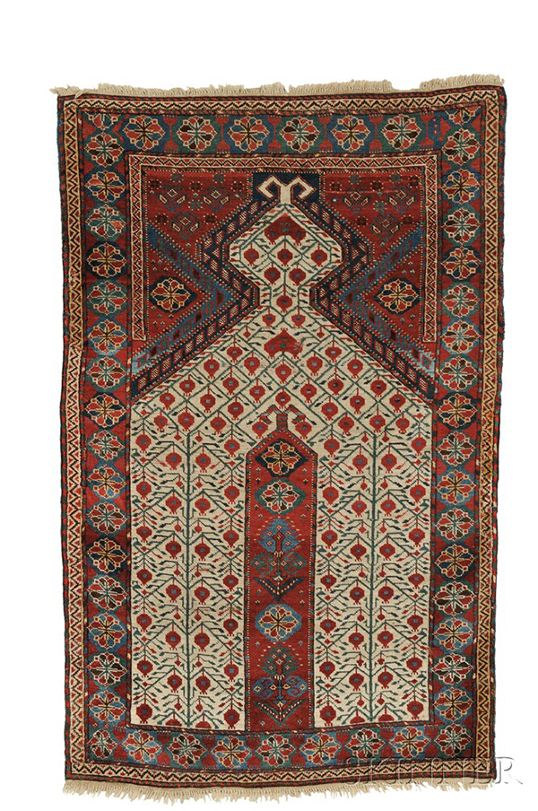 Beshir Prayer Rug, West Turkestan, first half 19th century, (outer guard stripe rewoven on both ends, small crude repairs, very slight moth damage), 5 ft. 6 in. x 3 ft. 6 in. Estimate $15,000-20,000
