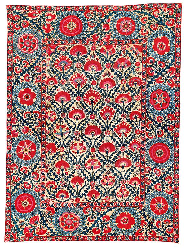 Lot 157, Shahrisyabz suzani, Uzbekistan. Sold for €43,920