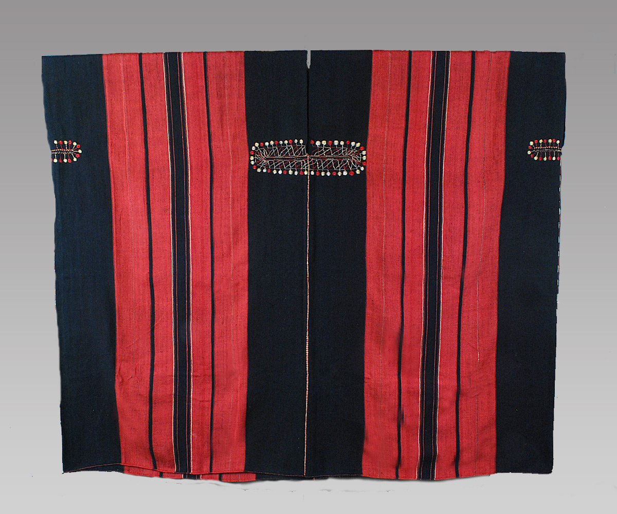"Woman's tunic, Kounsho Chin people, Chin State, Burma, early 20th century. Homespun cotton and silk with countered weft twining at the throat, 44"" (w) x 37"" (h). Joe Loux at MATA New York"