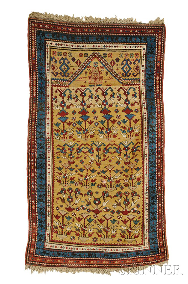 Daghestan Prayer Rug, Northeast Caucasus, last quarter 19th century, (three crease repairs, some black oxidation), 6 ft. x 3 ft. 5 in.  Estimate $12,000-15,000 Daghestan