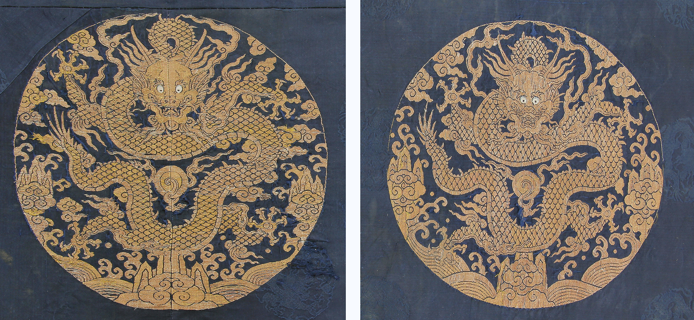 Imperial dragon roundels, 17th/18th century, China. Silk and gold thread. Galerie Arabesque, Stuttgart