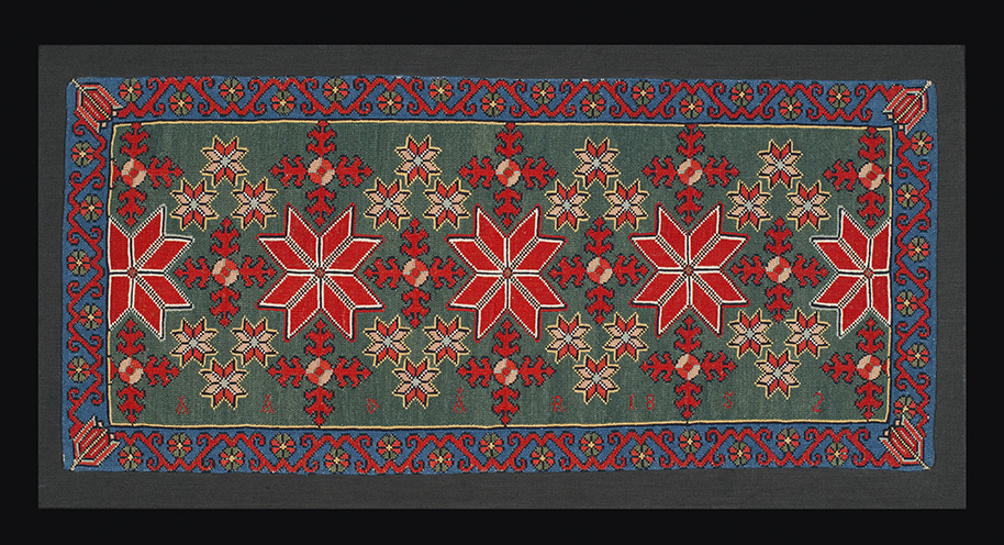 Embroidered dowry, agedyna, Skane, southern Sweden, initialled and dated 1852. Clive Loveless