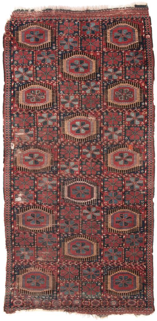 Garden design Beshir rug, Middle Amu Darya region, Bukhara Emirate, Central Asia, first half 19th century, 226 x 111 cm. Alberto Levi, Milan