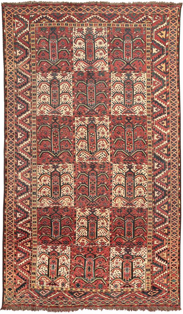 'Tarantula' Beshir rug, Middle Amu Darya region, Bokhara Emirate, Central Asia, first half 9th century, 232 x 135 cm. Alberto Levi, Milan