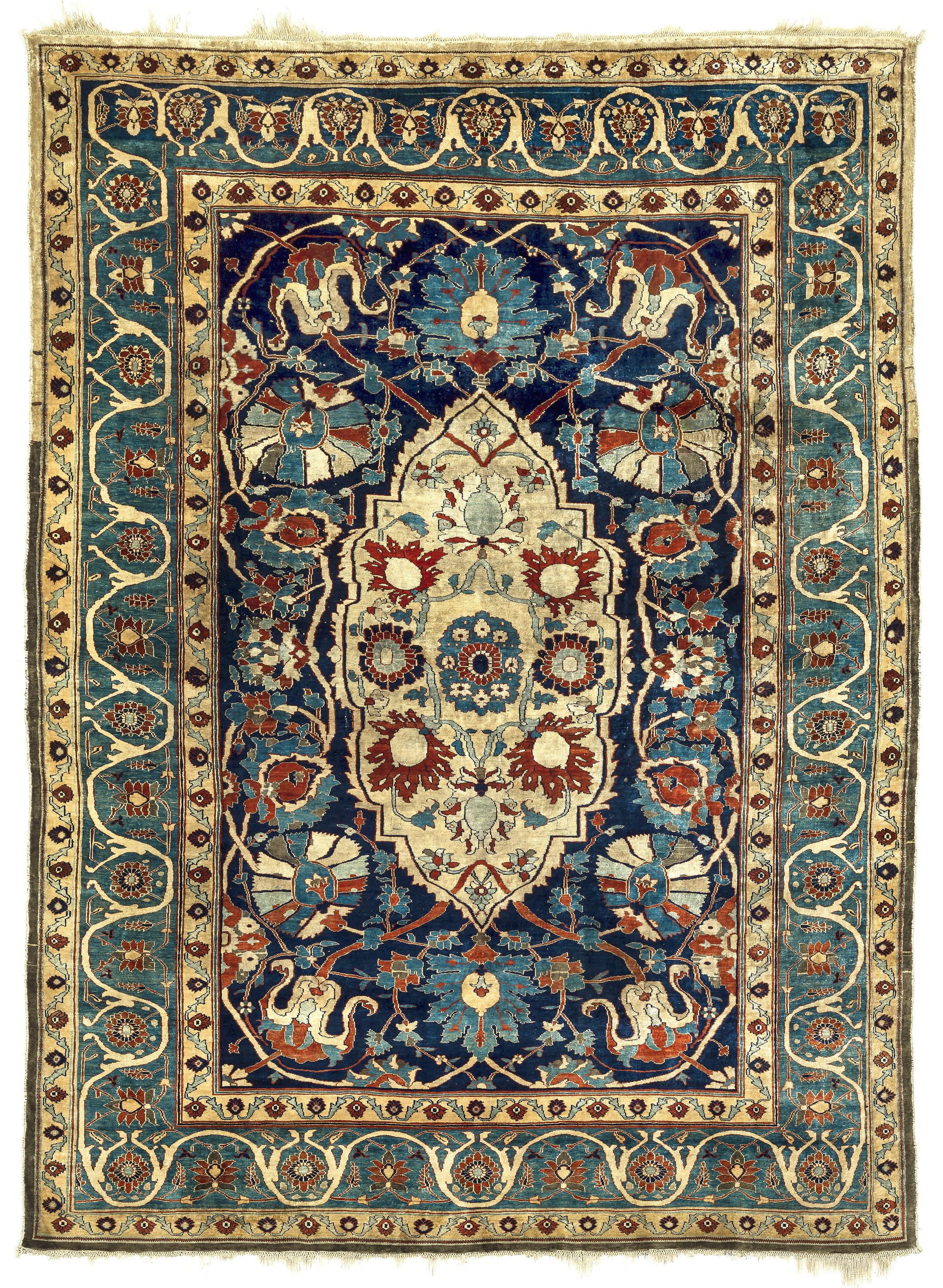 Heriz or Tabriz silk rug, northwest Persia, 19th century, 140 x 200cm. Teppichhaus Lerch, Munich