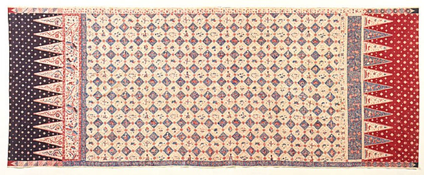 Woman's Hip Wrapper (Kain Panjang) Indonesia, Java, Cirebon circa 1910–20 Hand-drawn wax resist (batik) on machine-woven cotton, natural and synthetic dyes